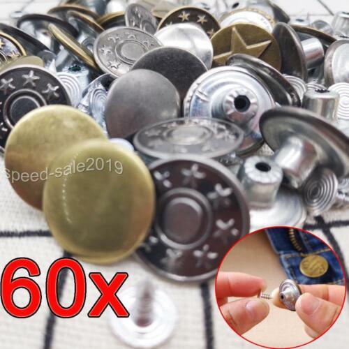 60 Pcs Jeansknöpfe Nietknöpfe Hosen Knopf Buttons Knöpfe Druckknöpfe nähfrei DE