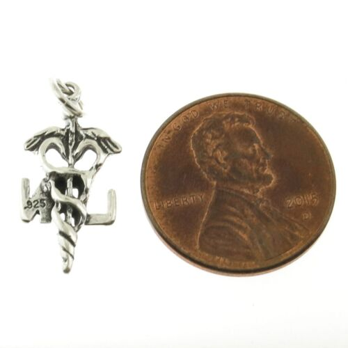 925 Sterling Silver Caduceus LPN Charm American Made