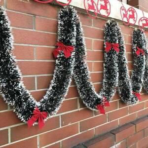 200cm-Christmas-Tinsel-Garland-Luscious-Xmas-Snow-Tips-Holly-Dark-Green-amp-White-UK