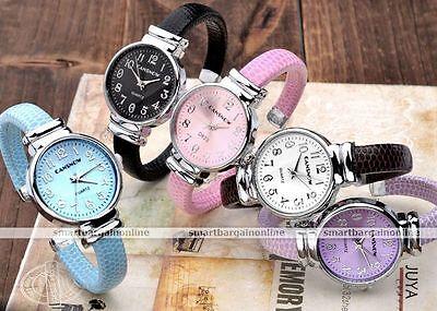 Women Girls Blue Pink Fashion Style Quartz Analog Wrist Cuff Bracelet Band Watch