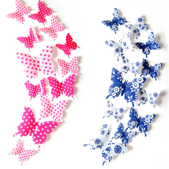 12Pcs 3D Blue and White Wall Stickers Butterfly Fridge Magnet For Home trendy