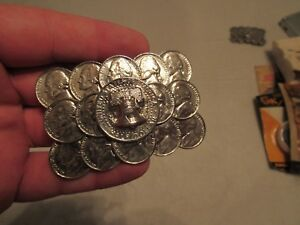 LIBERTY-BELL-HALF-DOLLAR-AND-NICKELS-BEAT-BUCKLE-GREAT-SHAPE