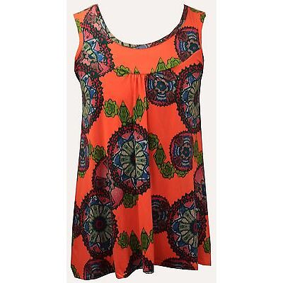 Womens Ladies Plus Size Sleeveless Jersey Floral Printed top vest Dress 12 to 26