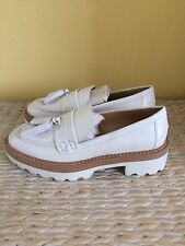 Zara White Beige Contrasting Track Sole Real Leather Platform Loafers Uk5, Eu38