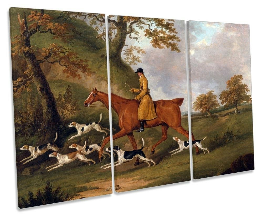 John Nost Sartorius Huntsman and Hounds Picture TREBLE CANVAS WALL ART Print