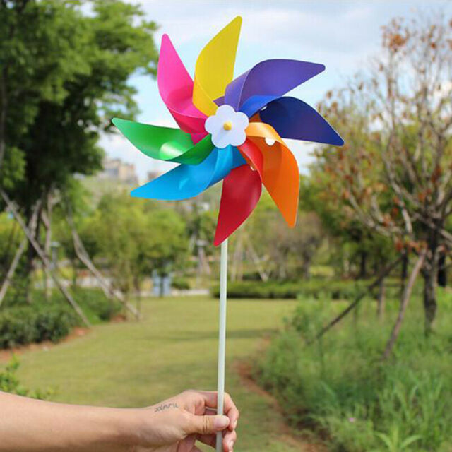 10Pcs Garden Yard Party Camping Windmill Wind Spinner Ornament Decor Kids Toy