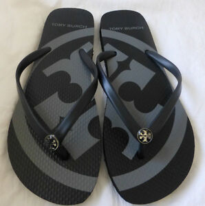 b79025ba6 Image is loading TORY-BURCH-Black-Emory-Flip-Flop-Sandals-Size-