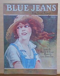 Blue Jeans 1920 Sheet Music Fox Trot Song Country Girl In