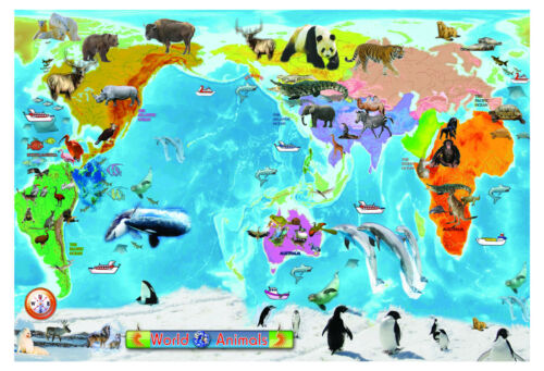 A2 huge laminated animal world map educational teaching kids resntentobalflowflowcomponenttechnicalissues gumiabroncs Image collections