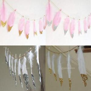 Boho Gold Dipped Feather Bunting Tassel Garland Nursery Hanging Decor