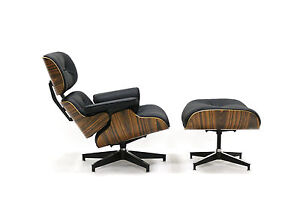 Stupendous Details About Eames Style Plywood Lounge Chair Ottoman 100 Genuine Leather Black Palisander Creativecarmelina Interior Chair Design Creativecarmelinacom