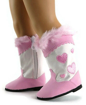 "Pink Heart Cowboy Western Boots made for 18"" American Girl Doll Clothes"