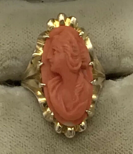 Antique 10K Carved Coral Cameo Ring Victorian
