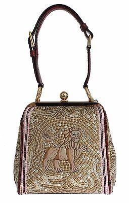 NWT DOLCE & GABBANA Bag AGATA Silk Python LION Print Shoulder Hand Purse Borse