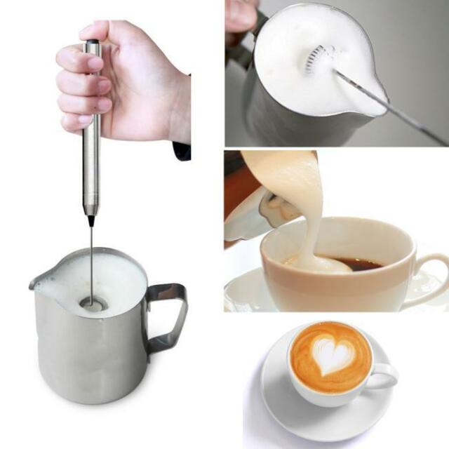 Kitchen Stainless Steel Handheld Electric Coffee Milk Frother Foamer Mixer Us