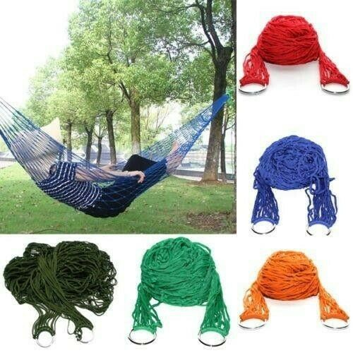 Portable Nylon Hammock Hanging Mesh Sleeping Bed Swing Outdoor Camping Travel