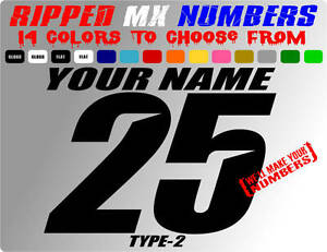 RIPPED NAME MX NUMBER PLATE DECALS SUPERCROSS STICKERS MOTORCYCLE DIRT BIKE RACE