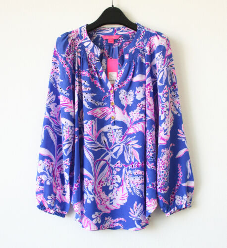 NWT Lilly Pulitzer Elsa Silk Top $168,Iris Blue Wild Within Shirt Tail Size S