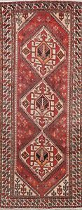 Antique-Geometric-Bakhtiari-Oriental-Wide-Runner-Rug-Wool-Hand-Knotted-5-039-x10-039