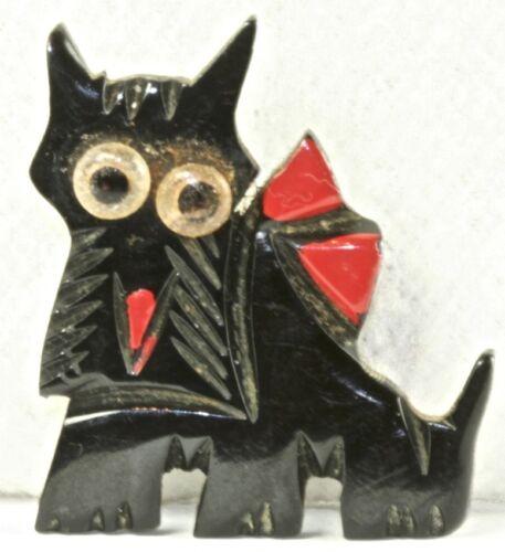 VINTAGE BLACK BAKELITE SCOTTY DOG PIN