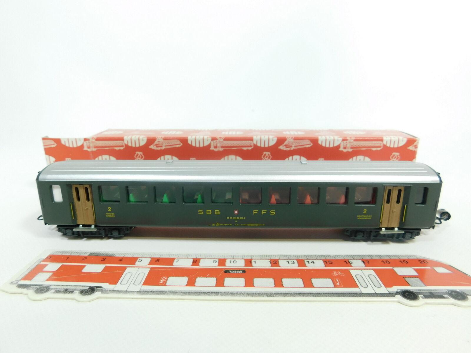 BD118-0,5  HAG H0 AC 400 Personenwagen 2. Klasse SBB CFF beleuchtet sehr gut+OVP
