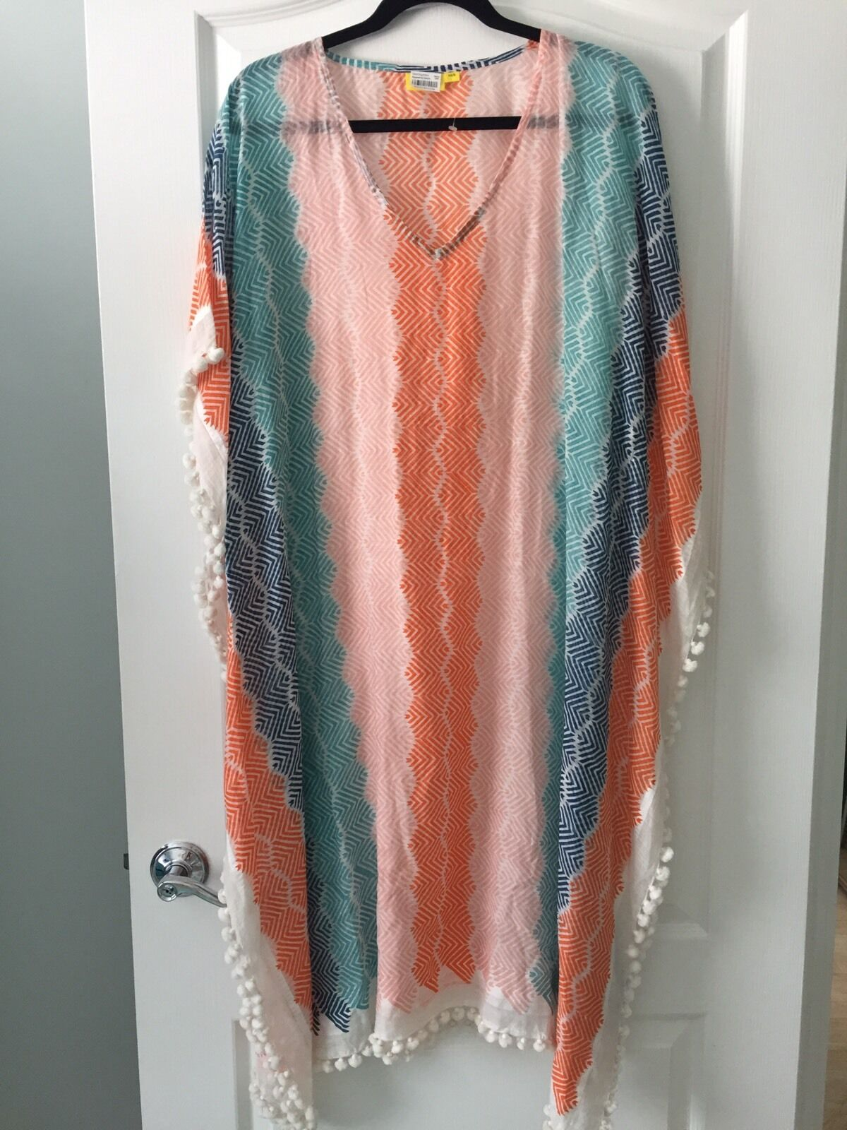 NWT  Roberta Roller Rabbit chasca Pompom Trimmed Caftan XS S X-SMALL SMALL