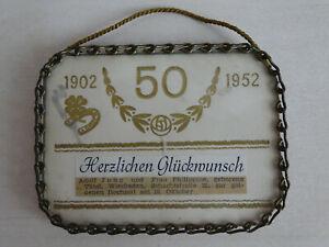 Urkunde BRD Land Hessen Auszeichnung Goldene Hochzeit gerahmt Metallkette 50er