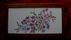 Vintage Packard & Ord Hand Painted Floral Tile Tray - Pink & Blue Flowers