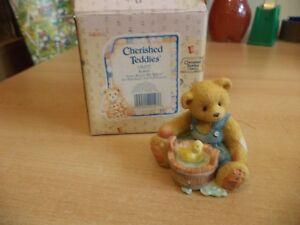 VINTAGE-BOXED-retired-cherished-teddies-TEDDY-BEAR-robert-1995-boy-with-bucket