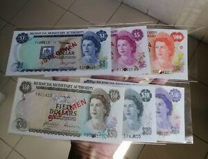 1978 Bermuda Specimen $1, $5, $10, $20, $50 & $100 Queen Elizabeth II Unc