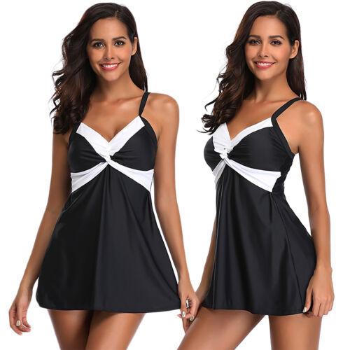 Damen Push up Tankini Set Badekleid Badeanzug Bademode Strandkleidung Minikleid