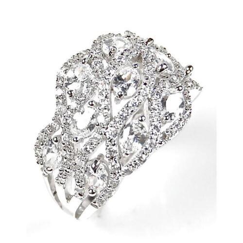 Argent Zircone Cubique Big Chunky Fashion Anneau Micro Pave Accents Ovale Cut Pierres