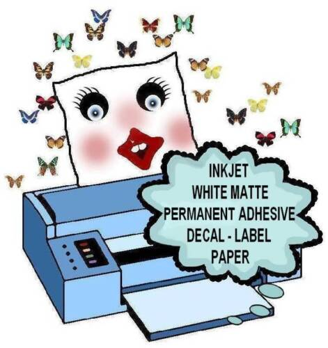 10 Sheets INKJET /& LASER  WHITE MATTE PERMANENT ADHESIVE STICKER /& LABEL PAPER