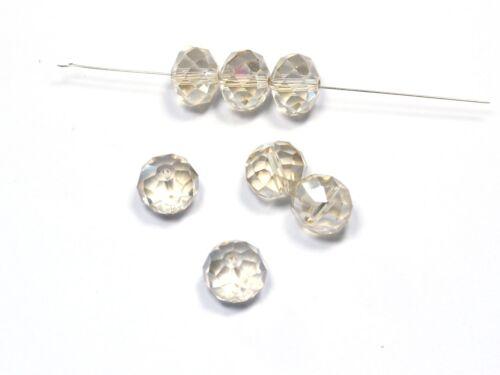 14x10mm 10 Stück #G9//7 Glasschliffperlen silk AB facettiert Glasperlen