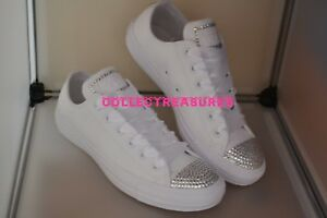 Custom Cristallo Diamante Bling bianco in pelle MONO Converse Taglia UK 3 4 5 6 7 8 9