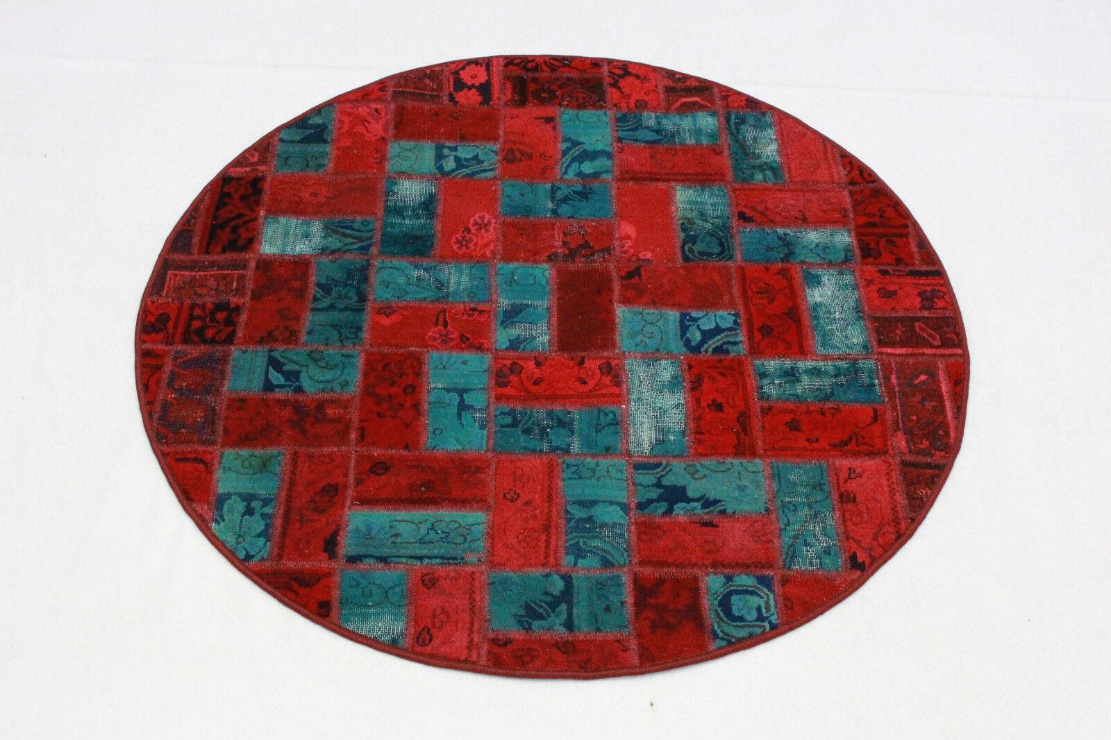 TONDO PATCHWORK Vintage Tappeto Orientale Moderno 135 cm blu rosso a mano intessuti 2179