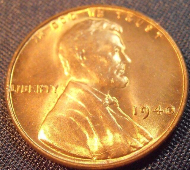 1940 P Lincoln Cent BU Bright Wheat Penny