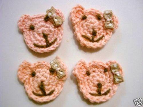 10 Hand Crochet Cute Pink Bear Hair Bow Applique//SewingTrim//Baby//Craft C23