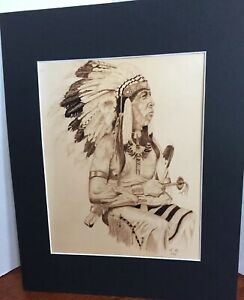 Details About Native American Portrait Pencil Drawing Elder Indian Chief Photo Art Print