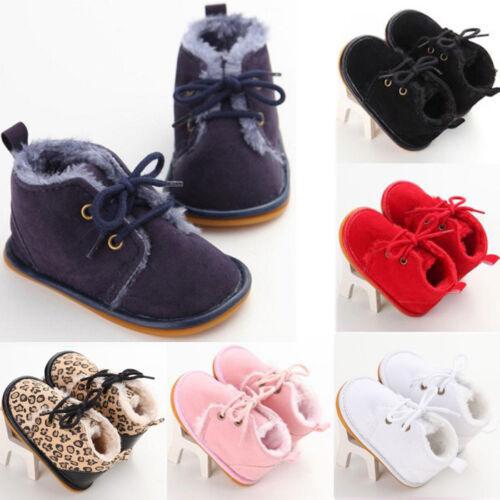 Newborn Baby Toddler Boy Girl Snow Boots Winter Warm Fur Crib Shoes Prewalker UK