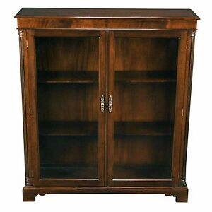 Solid Mahogany Glass Door Closed Bookcase With Adjustable Shelves