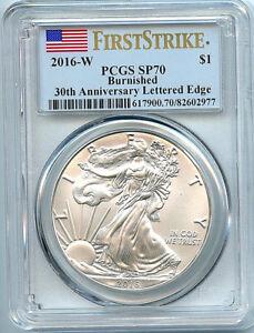 2016-W-Burnished-Silver-Eagle-Dollar-PCGS-SP70-Coin-First-Strike-Flag-30th-C39