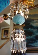 1of5 SWAG lamp plugin chandelier crystal prism Vintage Swirl Blue tole Brass old