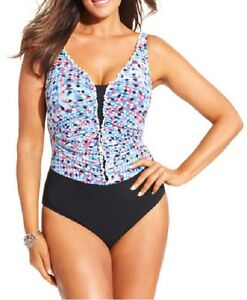 Profile-By-Gottex-One-Piece-Sz-24W-Black-Blue-Multi-Swimsuit-Swimwear-E515-2W81