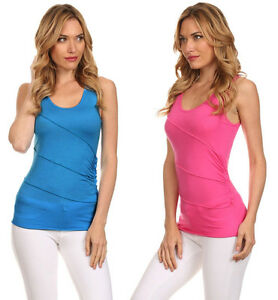 Women-039-s-Causal-Basic-Summer-Tank-Sleeveless-Top-w-Ruched-Side-amp-Seam-Crossing