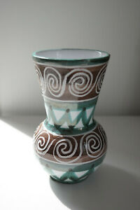 Détails sur Vase en faïence émaillée vert et blanc signé Robert Picault,  Vallauris