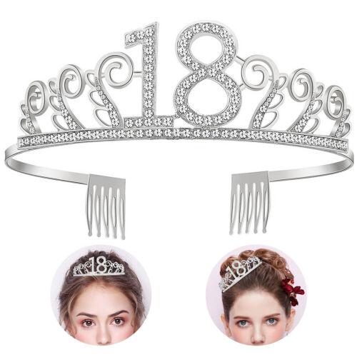 Girl 18th Birthday Tiara Crown Princess Headband Hair Accessories with Comb Gift
