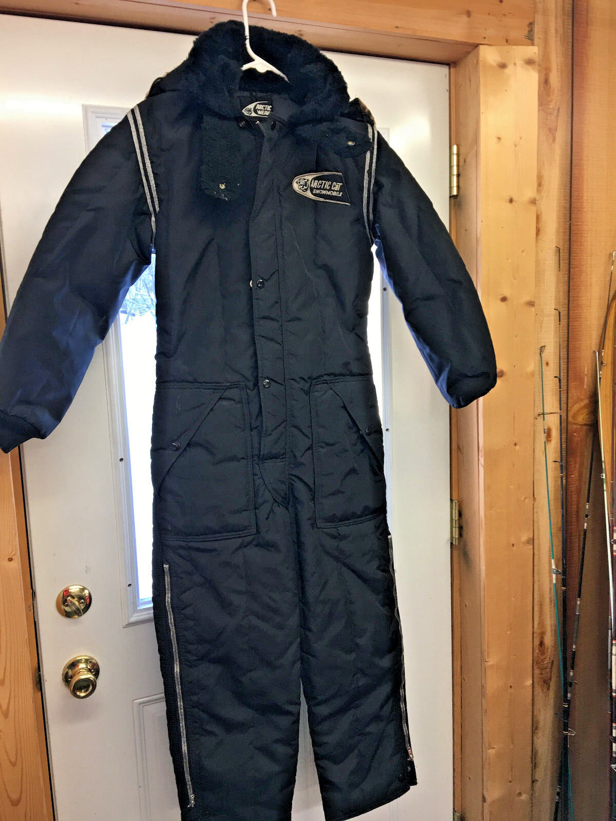 MW1 Vintage RARE  Arctic Cat Cheetah zip up hood snowmobile suit NEAR MINT