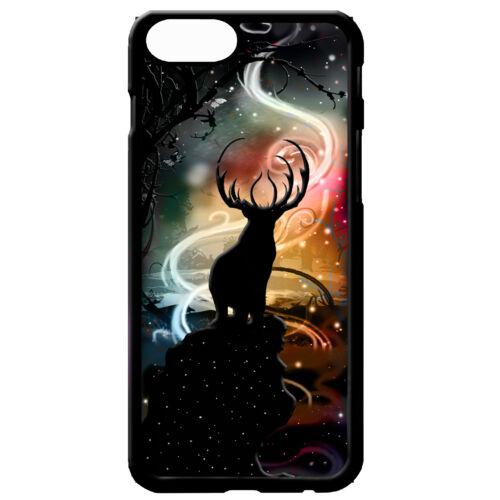 Deer Stag silueta de luna llena Bosque De Arte Arte Gráfico Estrellas Cubierta Estuche Teléfono