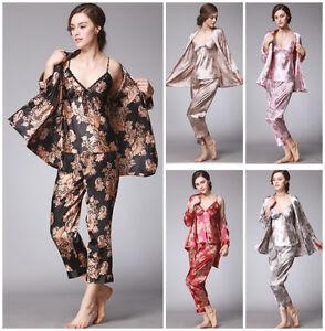 8b4f634620 3 Pieces Pyjama Sets Women Lady Silk Satin Pajama Sleepwear ...